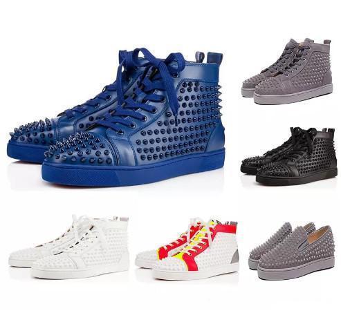 sapatos de grife de Spike Red fundo Sneakers sapatos de couro júnior bezerro sapatos casuais loafer Suede tamanho homens luxo mulheres com saco de caixa de pó