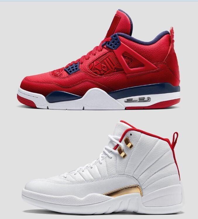2019 Jumpman SE ФИБА 4 12 Мужчины Баскетбол обувь Лучшие качества бренда 4s 12s Mens спорта Дизайнер кроссовки Gym Red Размер обуви 7-13