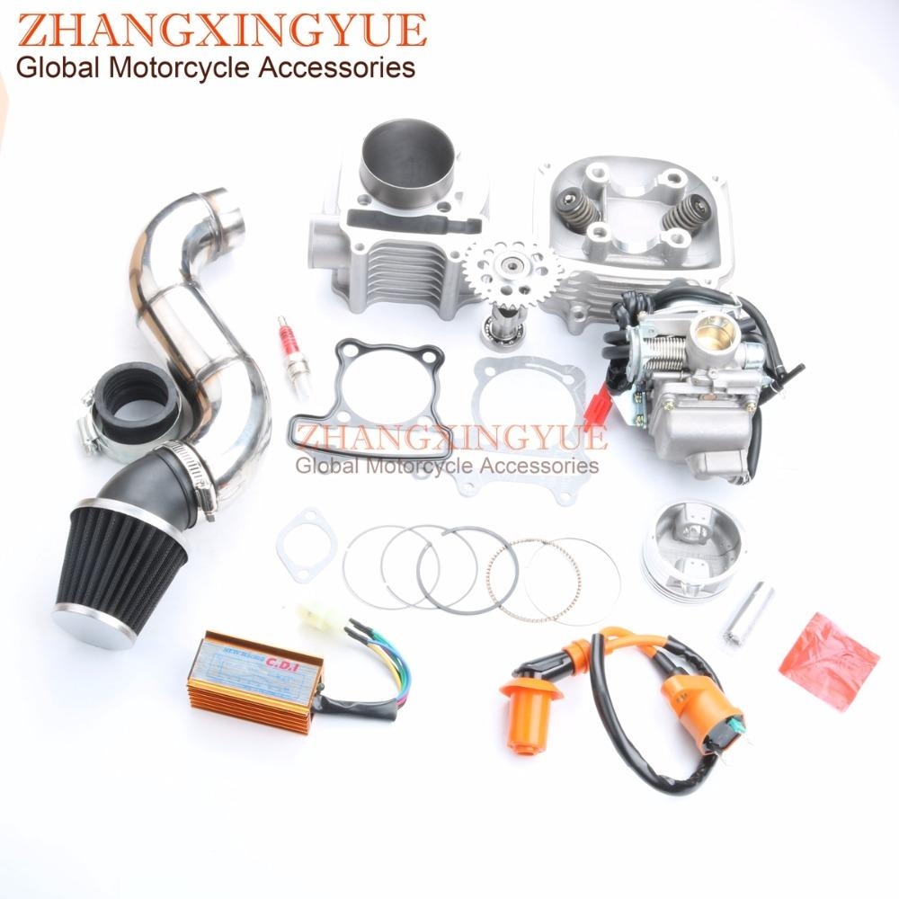 180cc NON EGR Culasse Kit 61mm Big Bore Kit cylindre cames A14 CDI AC pour GY6 150cc 157QMJ Scooter 4T