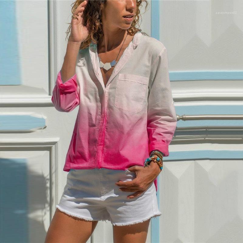breasted Blusa com bolso Gradiente de cor mulheres designer vestuário manga comprida lapela pescoço senhoras camiseta Moda Mulher Solteiro
