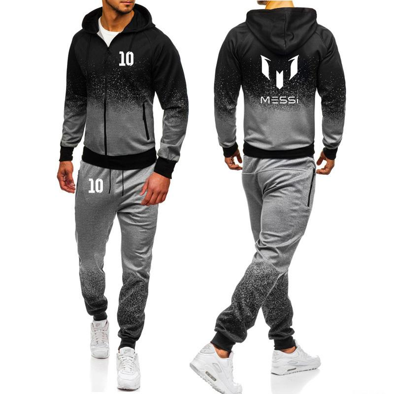 Messi Print Gradient Hoodies Men Spring Autumn Fleece Zipper Jacket Mens Streetwear Hip Hop Male Sweatshirt Sweatpants Suit 2Pcs