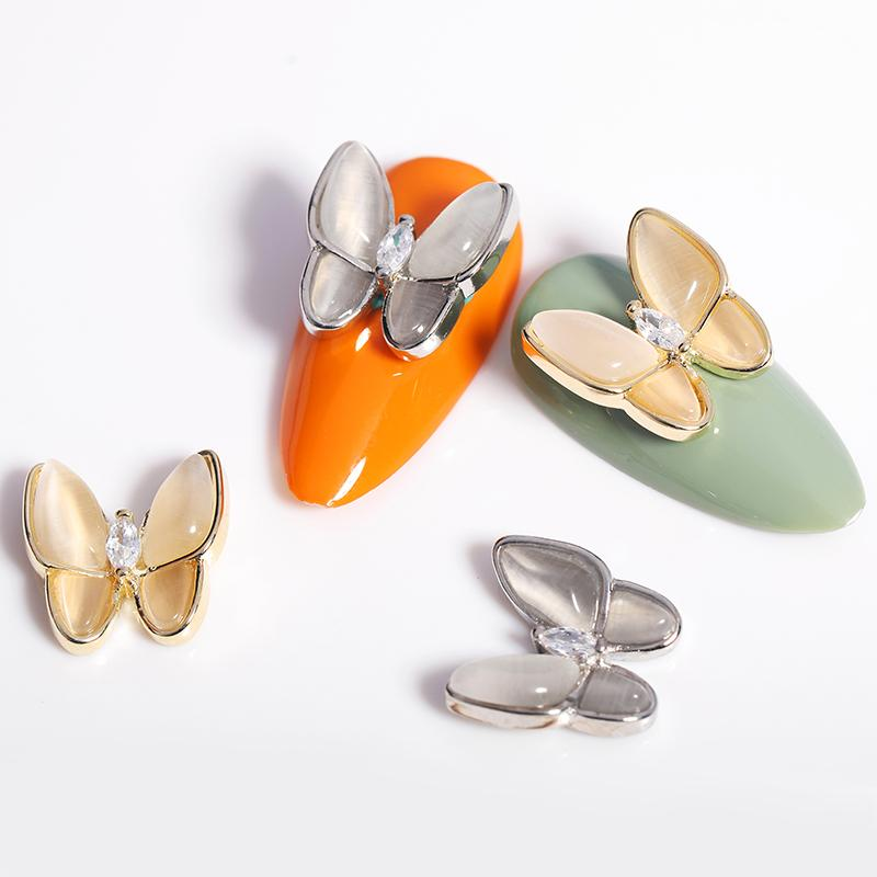 1 PCS 3D Nail Art Decoración Hollow Metal y Rhinestone de la mariposa Diseño de uñas tamaño de la mezcla Espárragos 3D uñas de accesorios de bricolaje Diseño