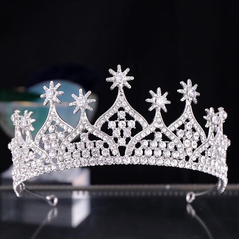 Diadèmes Et Couronnes En Argent À La Main Reine Princesse Étoiles Cristal Diadème Bandeaux De Mariage Ornements De Cheveux Femmes Bijoux De Cheveux