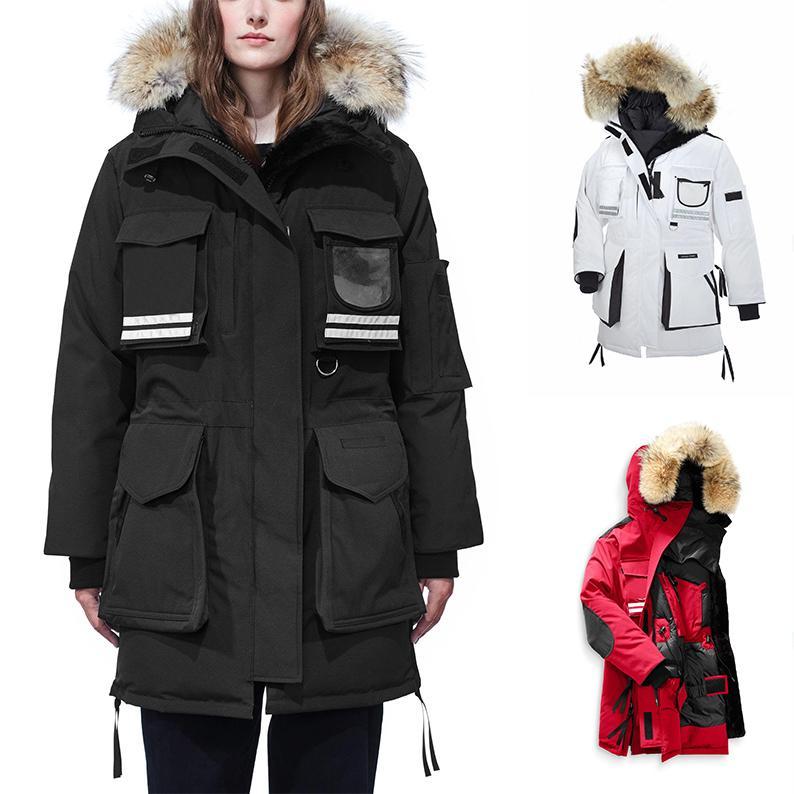 Mujeres chaqueta caliente Manteau piel parka con capucha reflectante Goosefeather NIEVE invierno gruesa MANTRA abajo para mujer Chaquetas Parkas 3M femeninos