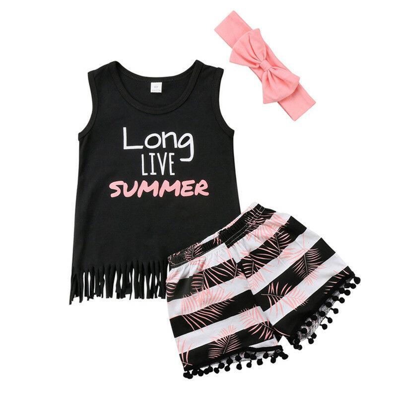 3PCS Toddler Babys Bambini Vestiti per ragazze Set Summer Bowknot Fascia Tank Top Dress Shorts Pantaloni Outfit Baby Kid Girl Set di vestiti