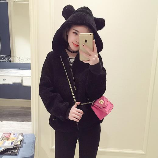 cf2e464d639 Fashion Women Coats 2019 women s faux rabbit fur jackets elegant sweet  girls outerwear fleece bear ears