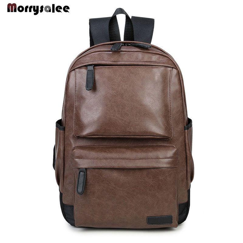 Zaino in pelle maschio Borse funzionali Uomo impermeabile Zaino PU grande capienza del sacchetto Sacchetti di scuola per l'adolescente
