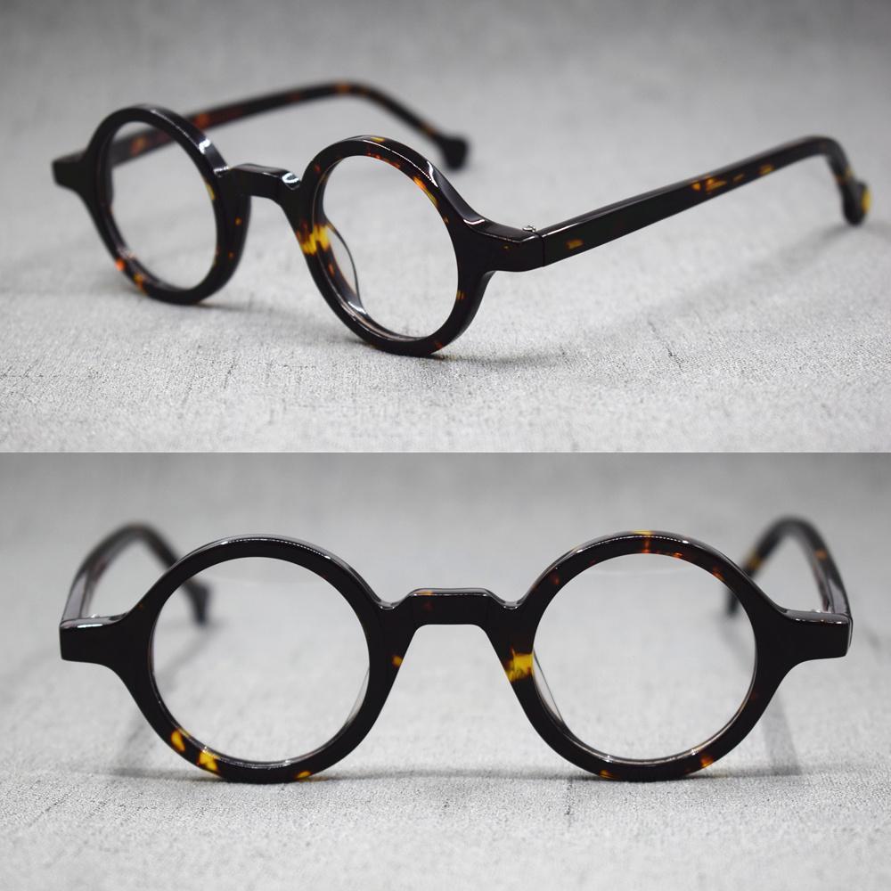 Atacado-redonda pequena Vintage Feito à Mão Quadros de óculos completa Rim Acetato Óculos Eyewear Rx capaz
