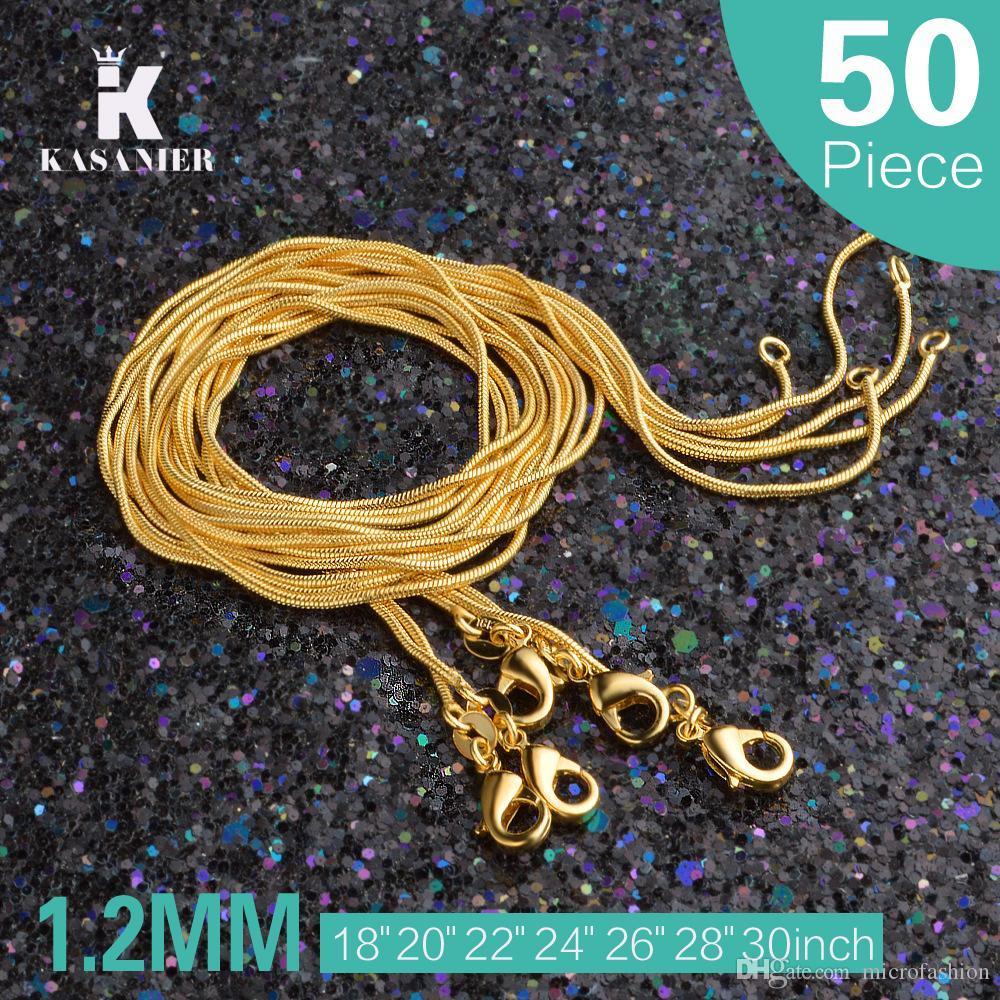 KASANIER 50 PC 1.2MM Gold-Schlangenkette 16-30 Zoll für Frauen Modeschmuck kann Gelbgold Halsketten-Fabrik-Preis besonders angefertigt werden