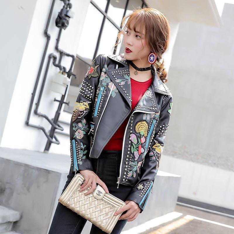 Женщины Fahion куртка Пальто звезда зима Стиль Pu одежды Вышивка Локомотивная Кожа Женщина пальто кожаное пальто