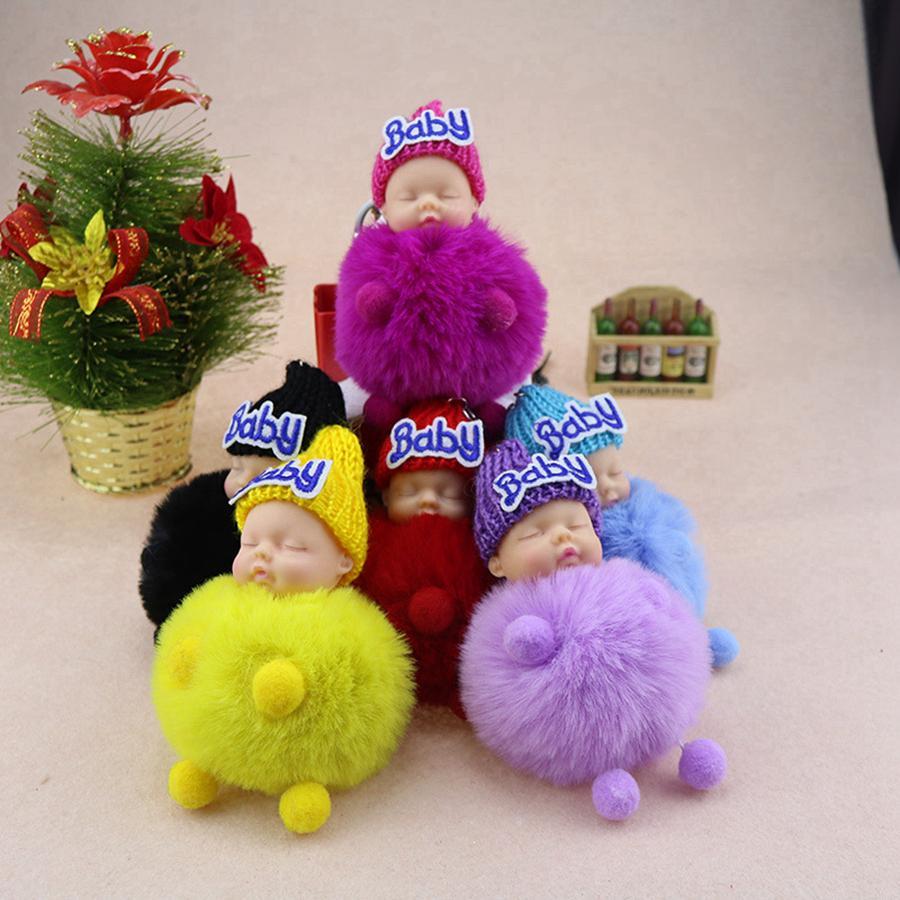 Cute dormire Baby Doll Portachiavi Pompon coniglio catena sfera della pelliccia moschettone portachiavi Portachiavi Donne chiave Bambini chiave pendente del sacchetto Anello RRA2830-11
