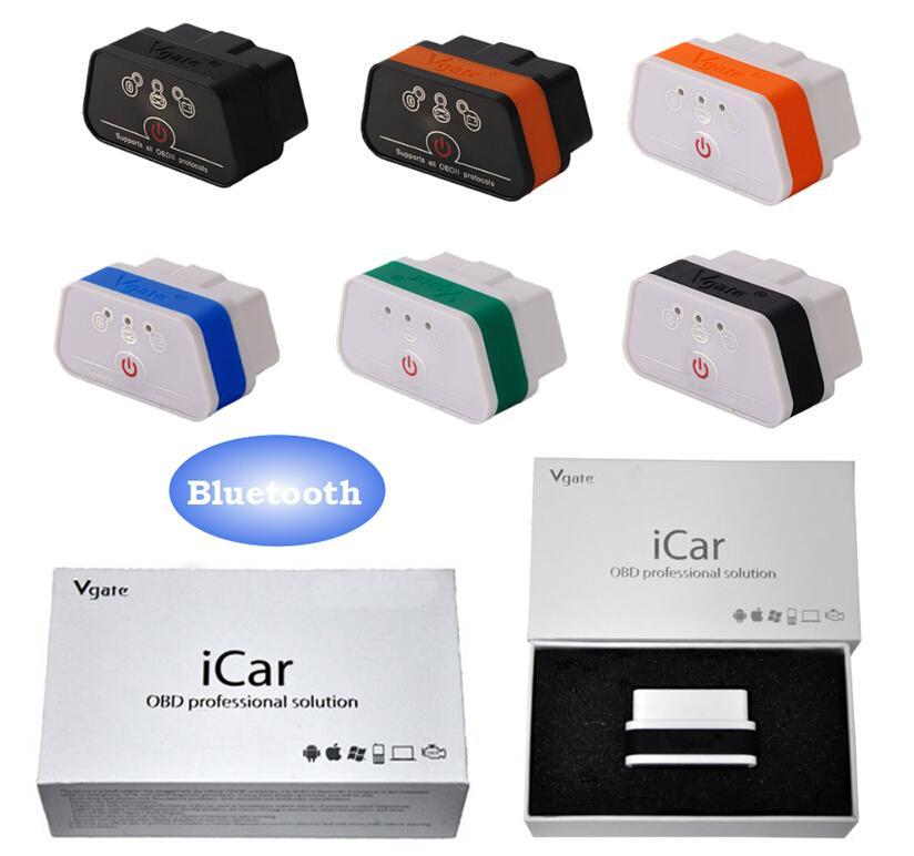 New vGATE icar2 Bluetooth OBD2 Diagnostic-ferramenta ELM327 Bluetooth OBD 2 Scanner Mini ELM327 para Android Code Reader