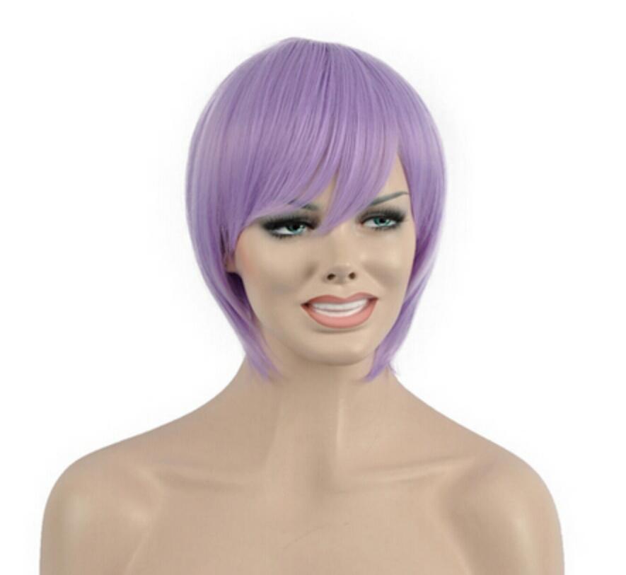 WIG 1029+++Popular Lady Purple Short Straight Oblique Bangs Cosplay Full Wigs Hair