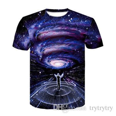 Azul 3D Galaxy Imprimir Mulheres T Shirt Universo Estrela Mulher Casual Camisas de Mangas Curtas Colheita Tops Feminino Bodybuidling Tee Ypf270