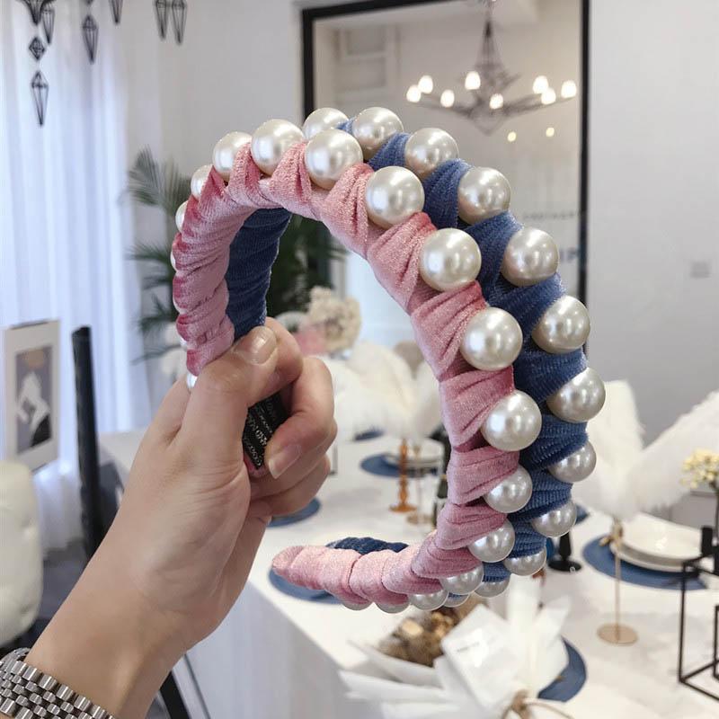 INS Perlenfrauen Haar klebt Mode Mädchen Designer Stirnband Prinzessin Designer Stirnbänder Frauen Stirnband Kinderhaarbänder Haarzusätze A9396