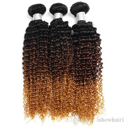 Ombre Capelli umani Bundles Brasiliani Capelli ricci ricci ricci 1b / 4/30 Tessuto umano Bundles può acquistare 3 bundles 3 toni estensioni di capelli non remy