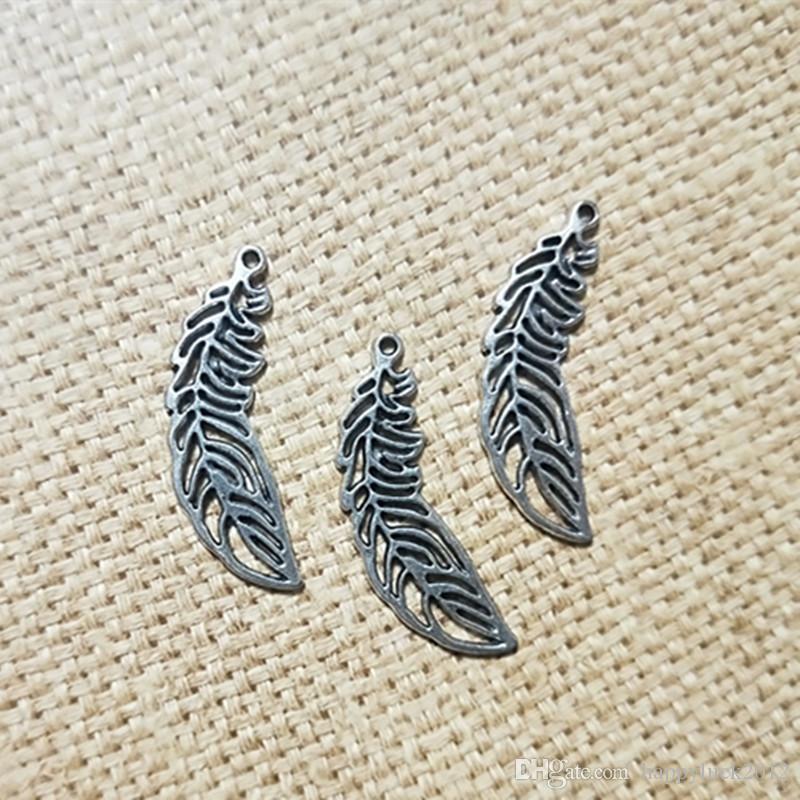 DIY örhängen armband charm antik silver tonfjäder löv samling hänge charm smycken tillbehör 40pcs / parti
