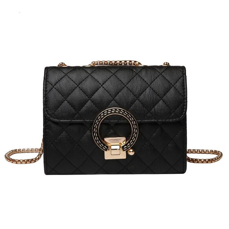 2020 nueva bolsa de hombro de las señoras de la alta calidad de la PU de otoño e invierno bolsa de mensajero de la cadena del bolso del anillo exquisita pequeña plaza