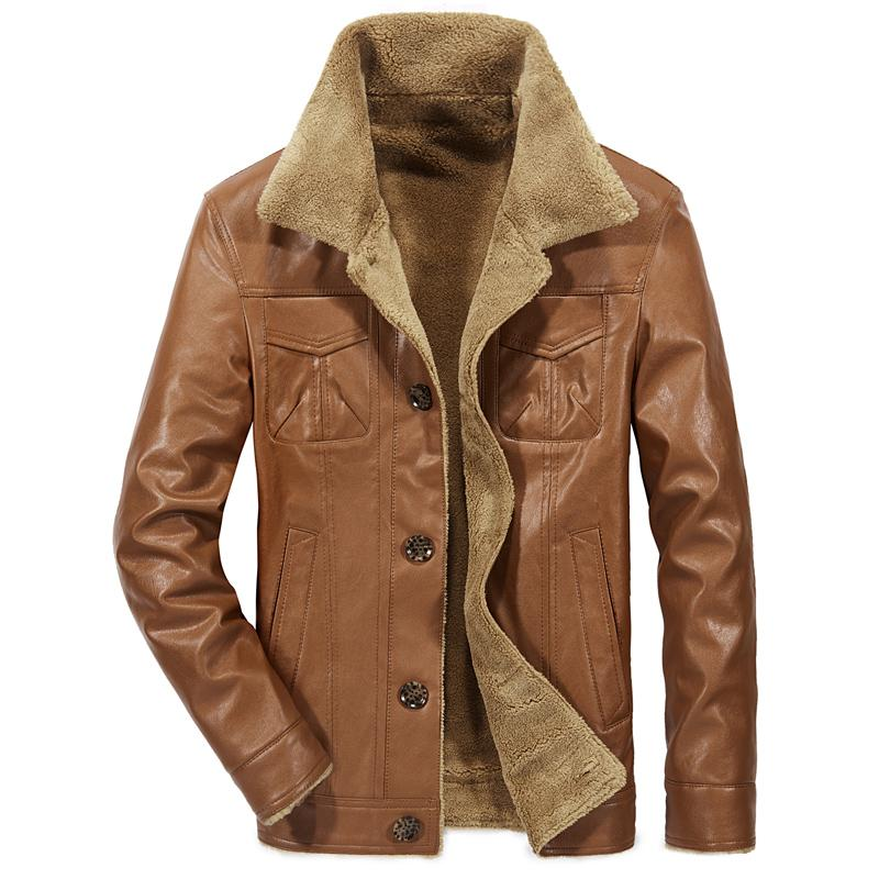 Motorcycle Leather Jacket Men British Wind Wool Liner Thick Leather Jacket Men Large Size 5XL High Quality Casual Top
