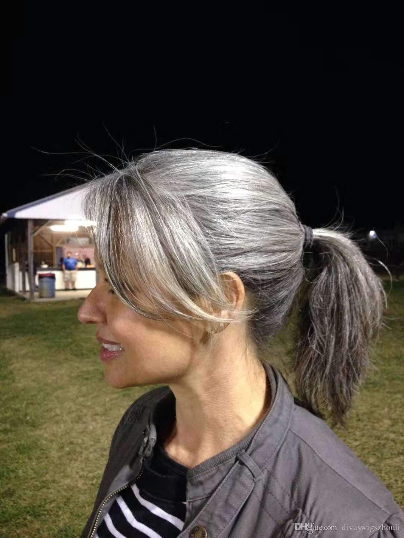 coiffure gris queue de cheval gris Extension de cheveux sillk sel droit et argent cheveux humains Dyeable poivre gris queue de cheval postiche
