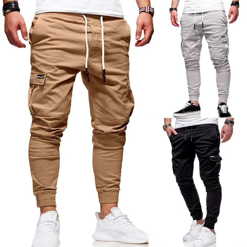 Мужские повседневные брюки ноги штаны Мужские спортивные комбинезоны брюки хлопок сплошной цвет дикие