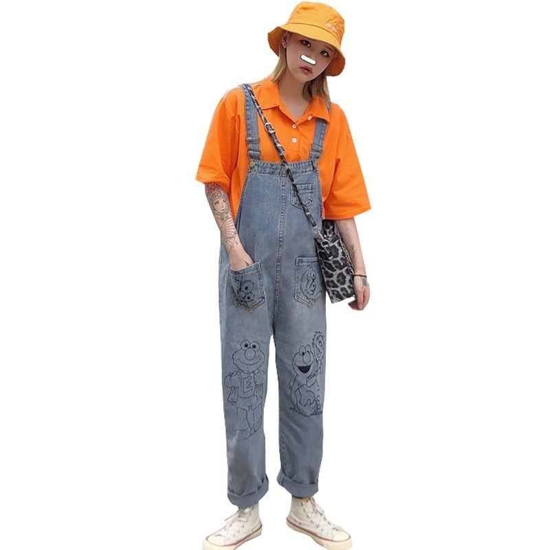 Summer Jeans Women 2019 New Harajuku Cute Cartoon Pattern Denim Jumpsuit Loose High Waist Retro Worn Strap Jeans Female
