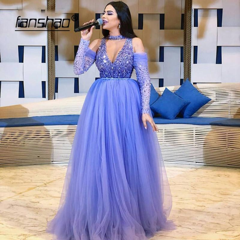 Lilac Muslim Evening Dress V-Neck Heavy Beading Long Sleeves Tulle Illusion Islamic Dubai Saudi Arabic Evening Gown Prom Dress