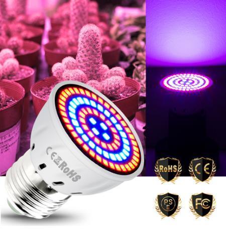 LED Grow Light Indoor Plants Light Full Spectrum Plant Lamp E14 Seedling Bulb Growing Lights 220v Phyto Lamp Grow Tent Lighting GU10 48leds 220V Red and Blue