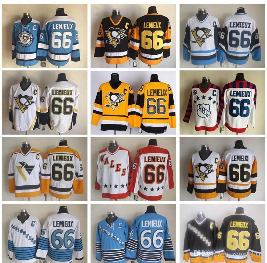 Lance barato volta # 66 Mario Lemieux camisas CCM Ouro Preto Amarelo Branco Vintage Pittsburgh Hóquei no Gelo Jerseys 100% costurado frete grátis