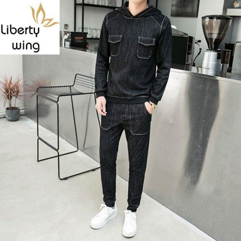 Suits Mens Bahar Kore Moda Streetwear Kazak Uzun Kol Kapşonlu Erkek Denim Casual Elastik Bel Kot Man ayarlar Tops