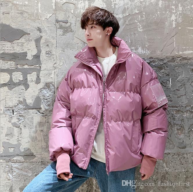 Stand collar cotton padded bubble jacket for men winter thick warm coat jacke Khaki purple green black silver blue coat