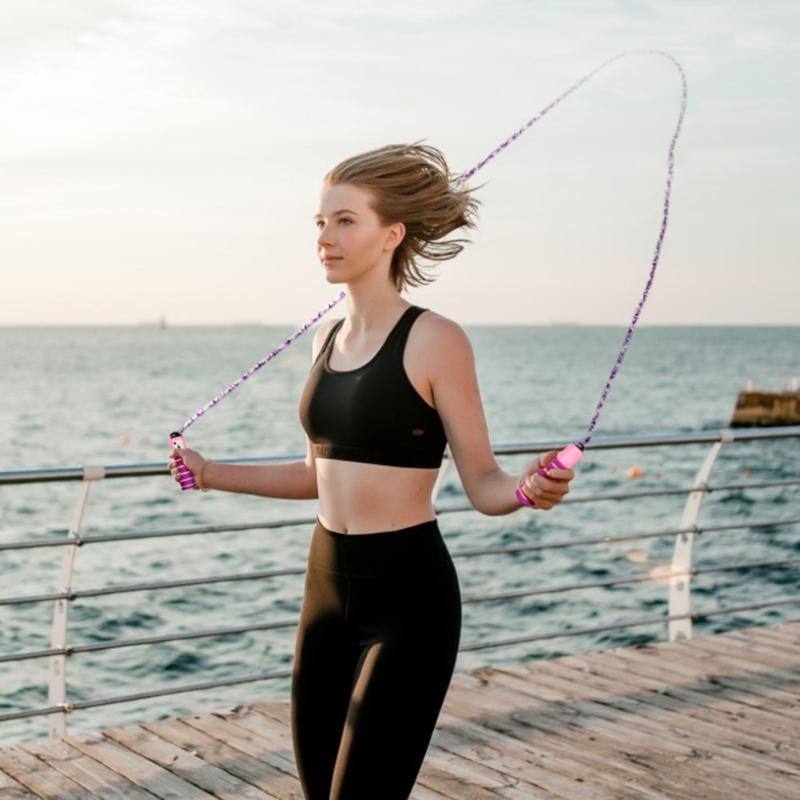 Sayaç Spor Eğitmenler Core Spor Sayma Atlama İp 2.6m Ayarlanabilir Atlama İp Spor süzülen kaymış
