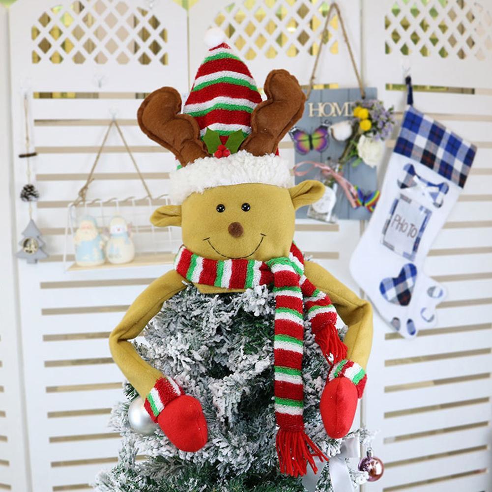 Árvore Decoração para casa e jardim não-tecidos Partido pano Pendant Papai Noel Elk Snowman chapéu do Natal Topper ornamento Abraço encantador