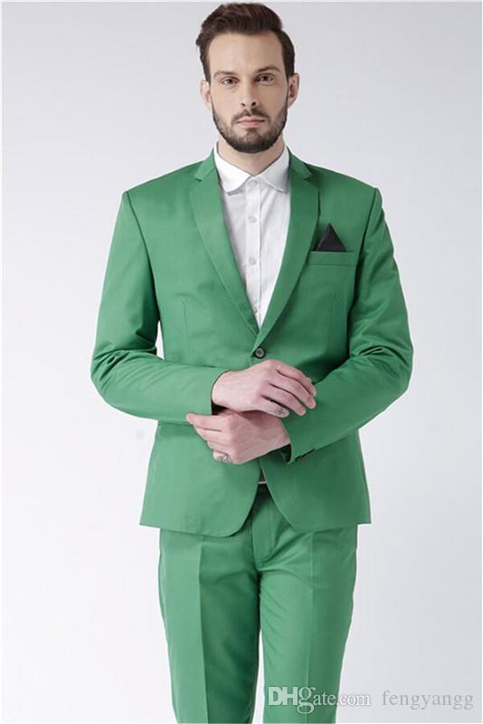 Handsome Green Notch Lapel Mens Suits Slim Fit 2 Pieces(Tuxedos Jacket+Pants) Wedding Groom Tuxedos Prom Suit Party Custom Made