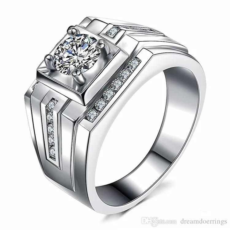 SQUARE Platinum Plated Zirconia Engagement Wedding Party Rings for Men Opening End Adjustable Size Moissanite Stone