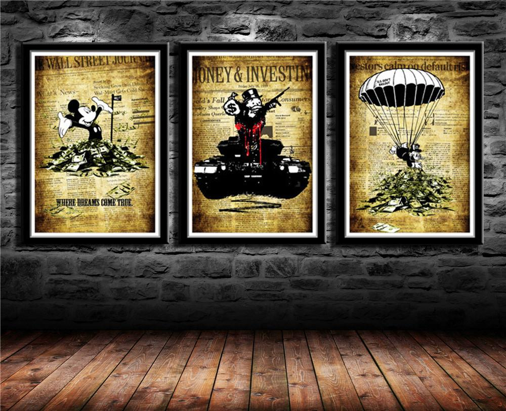 """Alec Monopoly Banksy Inspired,3 Pieces Canvas Prints Wall Art Oil Painting Home Decor (Unframed/Framed) 16x24x3"""""""