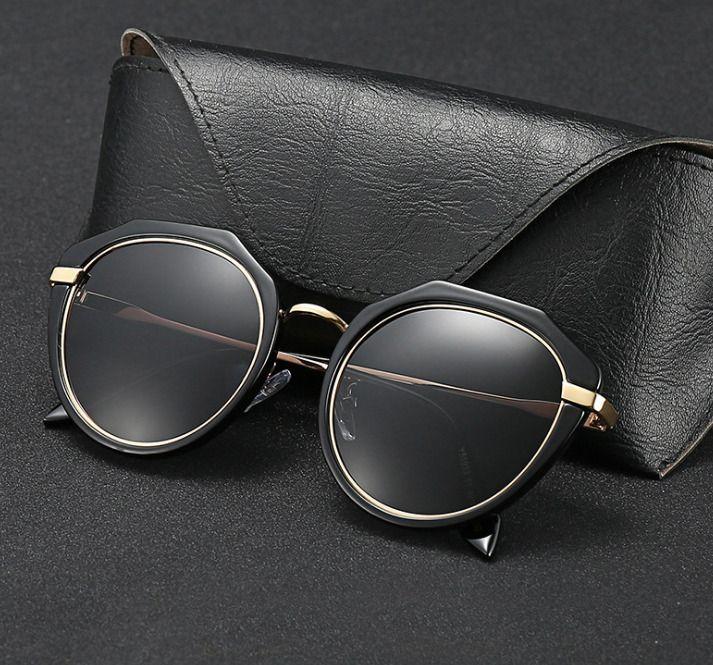 3647 Gafas de sol de Puente Doble Redondo mujer 51mm espejo marrón degradado y lentes de vidrio negro gafas sol gafas occhiali UV400 C18110601
