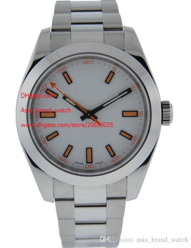 Top Quality relógio de pulso Mens Stainless Steel 40mm116400GV relógios maior tamanho para Relógios de Sapphire Homens homens mostrador branco Automático Mecânica