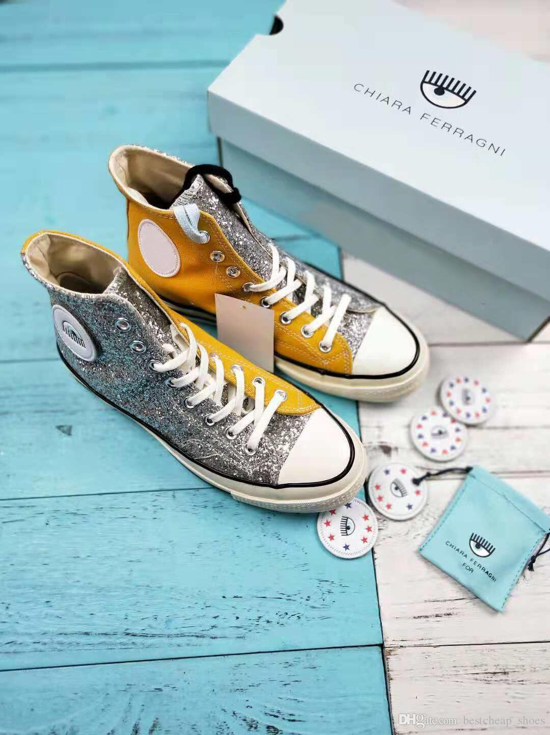 2020 New Chiara Ferragni X One Star Eyes 74 OX Pinstripe 1970s Mens Chuck Casual Canvas Shoes Skate Womens Glitter Silver Designer Sneakers From