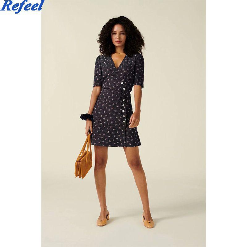 Fashion summer dress short sleeve buttons sashes chic floral print mini beach v-neck dress women femme vestidos dropshipping