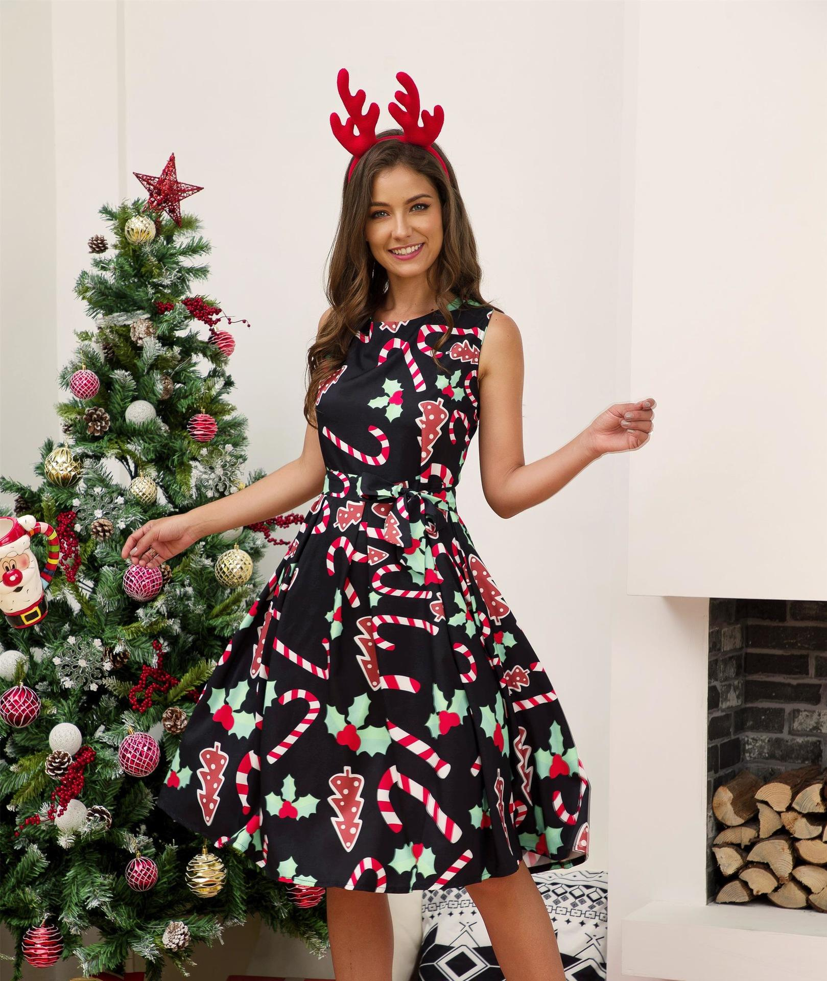 Femmes Robe de Noël de Noël Imprimer Party Vintage manches taille haute Robe Swing D08E