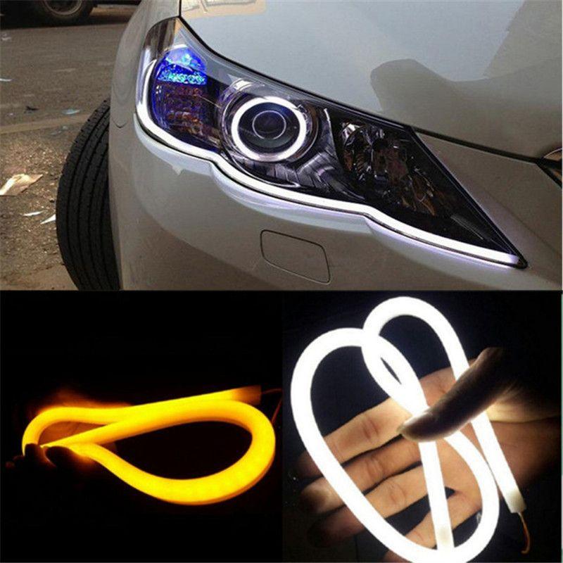 2 قطعة / الوحدة 60 سنتيمتر drl مرنة الصمام أنبوب قطاع النهار تشغيل أضواء بدوره إشارة ملاك عيون سيارة التصميم الأبيض الأصفر