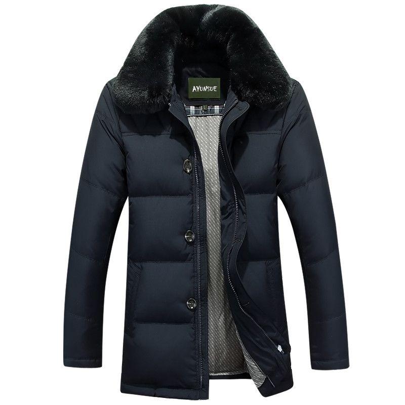 Boollili Men Jacket Com quente quente Collar Faux Fur Thicken inverno Brasão Men Casual Magro Outwear Jacket E Cotton Parka M-3XL