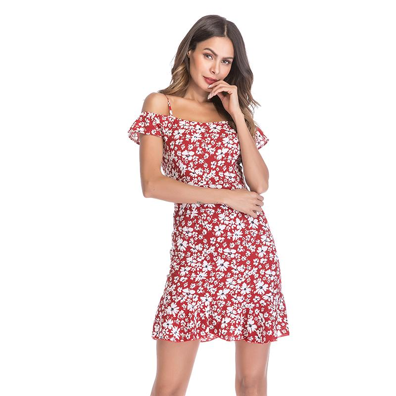 2020 Sexy gasa de las mujeres del vestido sin mangas fuera de los hombros con estampados florales mujeres mujer ropa de los vestidos de volantes vestido de la playa para la hembra