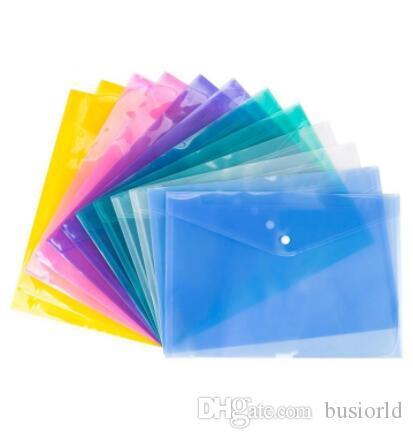 مجلدات زر شفافة PP البلاستيكية حقيبة الأرشيف متعدد الألوان ماء ملف الجيب الايداع تخزين القرطاسية الطالب