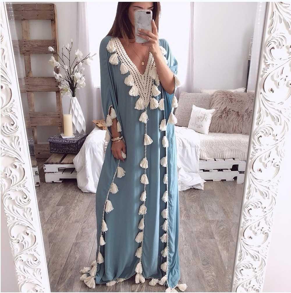 Verão muçulmana Vestidos islâmica árabe Dubai Kaftan Abaya Oriente Médio marroquina Kaftan Vestido Indonésia Turquia Femme Robe Casual