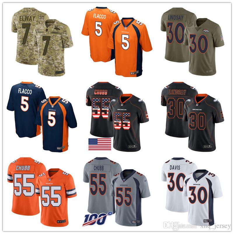 Denver Bronco encargo jerseys Von Miller Joe Flacco Bradley Chubb Phillip Lindsay John Elway Terrell Davis Hombres Mujeres camiseta de fútbol juvenil