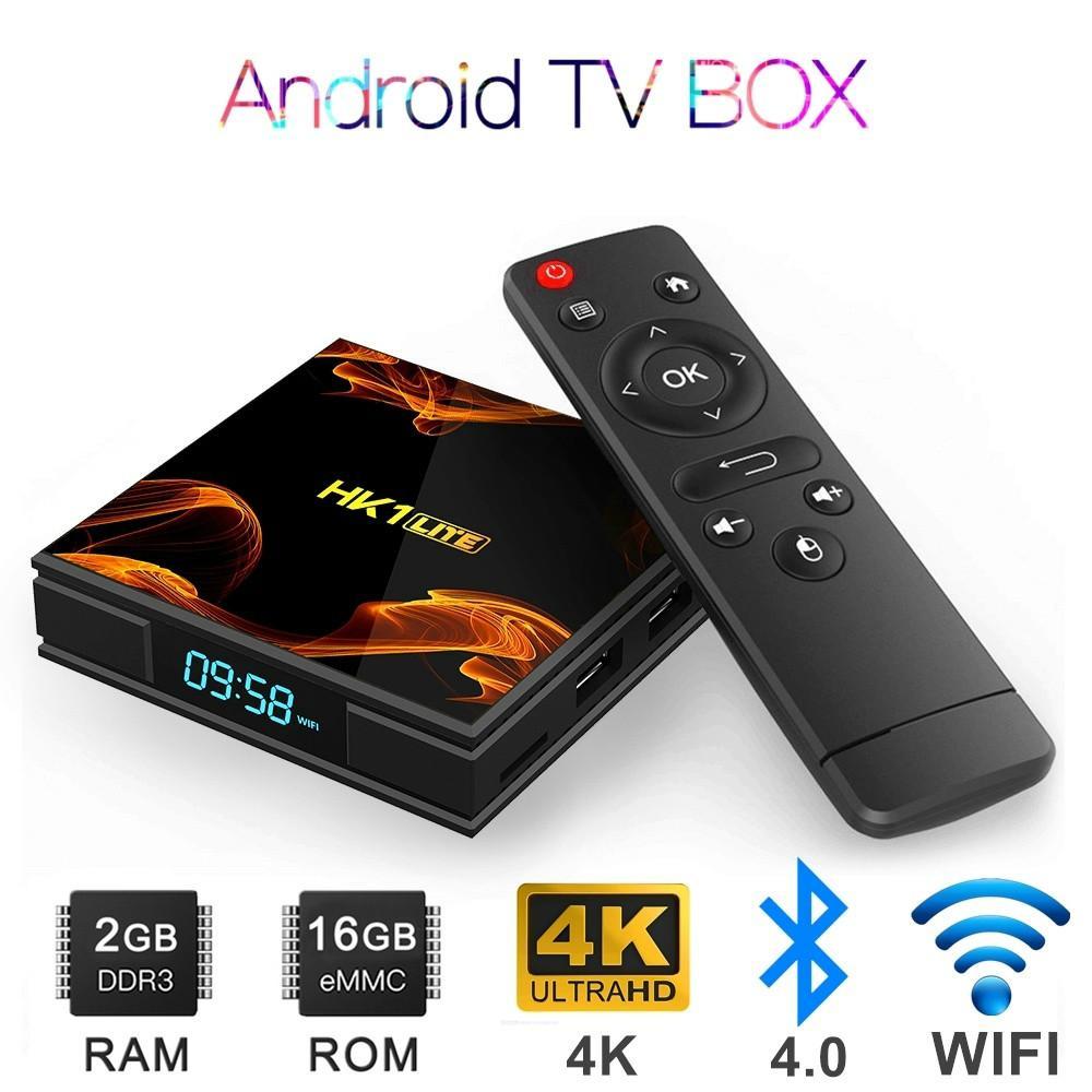 Boîte TV 4K Android Android 9.0 Media Player 2GB RAM 16GB ROM OTT TV Coffret numérique Quad Core Set Boîte supérieure