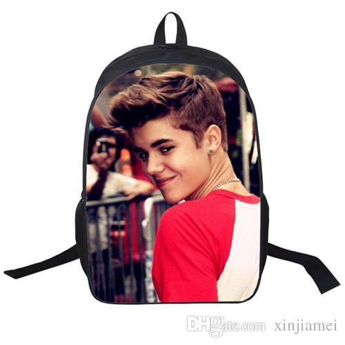 Großhandel Justin Bieber Tasche Neue Kinder Rucksack Männer Rucksack Druck Rucksack Schultasche College School Rucksäcke Jungen Justin Bieber Von