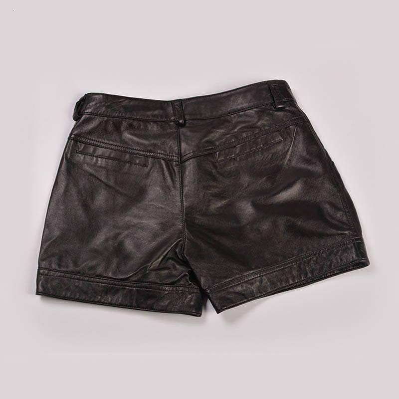 Koreanische Art und Weise 2020 Sommer-Frauen Leder Schwarze Shorts beiläufige drapierte Low Waist Short Feminino Größe 3XL Mini Hosen Frau